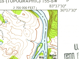 Reduced fragment of topographic map en--usgs--024k--027934--(1953)--N036-07-30_W083-45-00--N036-00-00_W083-37-30