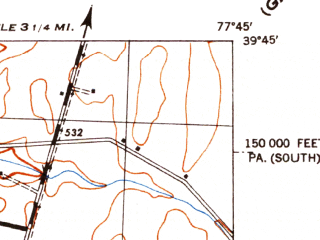 Reduced fragment of topographic map en--usgs--024k--027948--(1944)--N039-45-00_W077-52-30--N039-37-30_W077-45-00