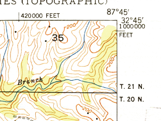 Reduced fragment of topographic map en--usgs--024k--027949--(1948)--N032-45-00_W087-52-30--N032-37-30_W087-45-00; towns and cities Forkland