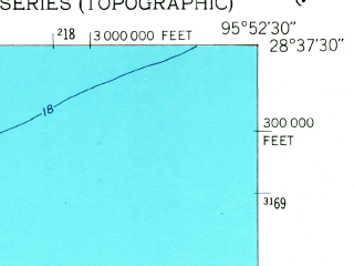 Reduced fragment of topographic map en--usgs--024k--027986--(1952)--N028-37-30_W096-00-00--N028-30-00_W095-52-30