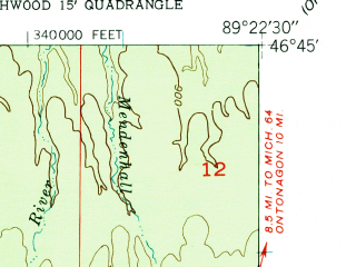 Reduced fragment of topographic map en--usgs--024k--027991--(1956)--N046-45-00_W089-30-00--N046-37-30_W089-22-30