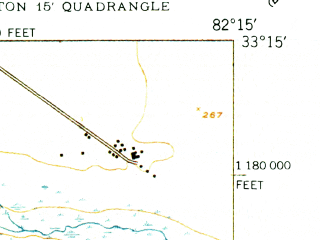 Reduced fragment of topographic map en--usgs--024k--028026--(1950)--N033-15-00_W082-22-30--N033-07-30_W082-15-00