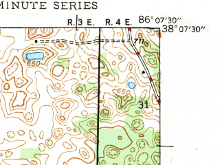 Reduced fragment of topographic map en--usgs--024k--028045--(1947)--N038-07-30_W086-15-00--N038-00-00_W086-07-30; towns and cities Mauckport