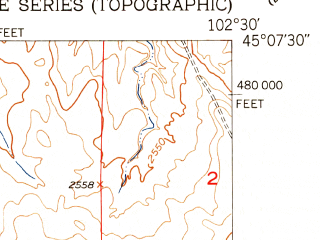 Reduced fragment of topographic map en--usgs--024k--028063--(1951)--N045-07-30_W102-37-30--N045-00-00_W102-30-00