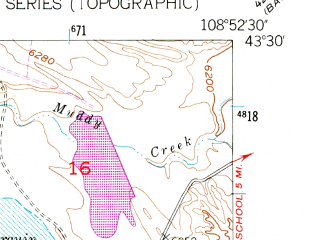 Reduced fragment of topographic map en--usgs--024k--028074--(1951)--N043-30-00_W109-00-00--N043-22-30_W108-52-30