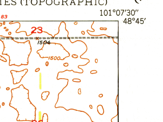 Reduced fragment of topographic map en--usgs--024k--028084--(1949)--N048-45-00_W101-15-00--N048-37-30_W101-07-30; towns and cities Maxbass