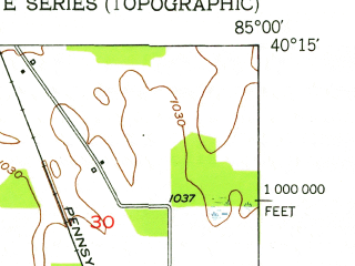 Reduced fragment of topographic map en--usgs--024k--028090--(1952)--N040-15-00_W085-07-30--N040-07-30_W085-00-00