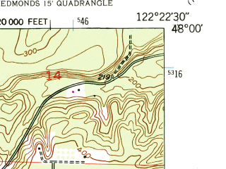 Reduced fragment of topographic map en--usgs--024k--028101--(1953)--N048-00-00_W122-30-00--N047-52-30_W122-22-30