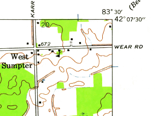 Reduced fragment of topographic map en--usgs--024k--028116--(1940)--N042-07-30_W083-37-30--N042-00-00_W083-30-00; towns and cities Maybee