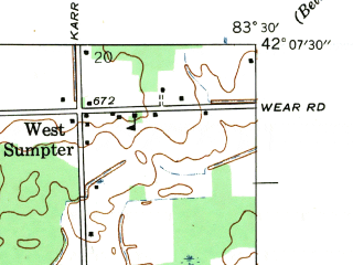 Reduced fragment of topographic map en--usgs--024k--028116--(1942)--N042-07-30_W083-37-30--N042-00-00_W083-30-00; towns and cities Maybee