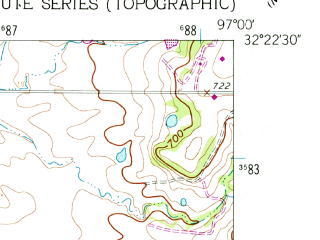 Reduced fragment of topographic map en--usgs--024k--028155--(1961)--N032-22-30_W097-07-30--N032-15-00_W097-00-00; towns and cities Maypearl