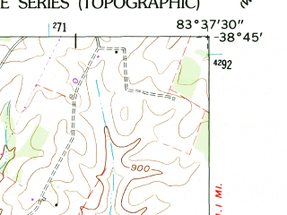 Reduced fragment of topographic map en--usgs--024k--028167--(1961)--N038-45-00_W083-45-00--N038-37-30_W083-37-30