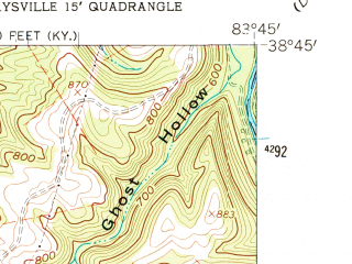 Reduced fragment of topographic map en--usgs--024k--028168--(1961)--N038-45-00_W083-52-30--N038-37-30_W083-45-00; towns and cities Maysville, Aberdeen, Ripley