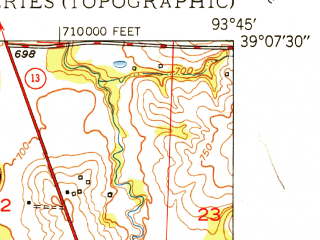 Reduced fragment of topographic map en--usgs--024k--028171--(1950)--N039-07-30_W093-52-30--N039-00-00_W093-45-00; towns and cities Mayview
