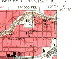 Reduced fragment of topographic map en--usgs--024k--028178--(1959)--N039-45-00_W086-15-00--N039-37-30_W086-07-30; towns and cities Homecroft