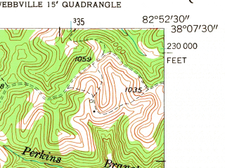 Reduced fragment of topographic map en--usgs--024k--028183--(1953)--N038-07-30_W083-00-00--N038-00-00_W082-52-30
