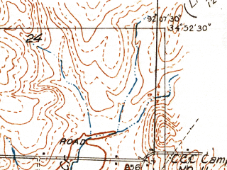 Reduced fragment of topographic map en--usgs--024k--028202--(1935)--N034-52-30_W092-15-00--N034-45-00_W092-07-30; towns and cities Jacksonville, Sherwood, Gravel Ridge