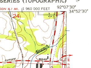 Reduced fragment of topographic map en--usgs--024k--028202--(1954)--N034-52-30_W092-15-00--N034-45-00_W092-07-30; towns and cities Jacksonville, Sherwood, Gravel Ridge
