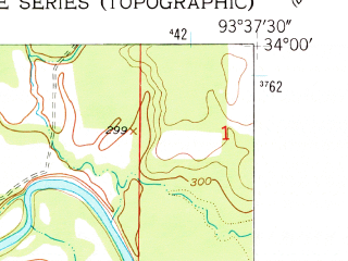 Reduced fragment of topographic map en--usgs--024k--028240--(1951)--N034-00-00_W093-45-00--N033-52-30_W093-37-30; towns and cities Mccaskill