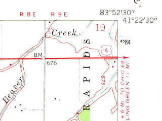 Reduced fragment of topographic map en--usgs--024k--028259--(1960)--N041-22-30_W084-00-00--N041-15-00_W083-52-30; towns and cities Mcclure