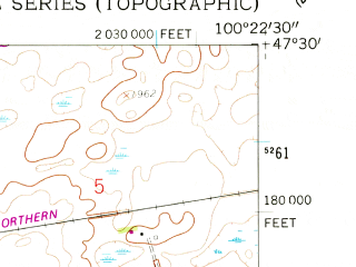 Reduced fragment of topographic map en--usgs--024k--028265--(1959)--N047-30-00_W100-30-00--N047-22-30_W100-22-30; towns and cities Mcclusky