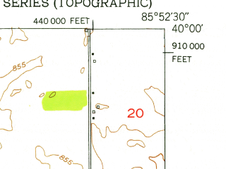 Reduced fragment of topographic map en--usgs--024k--028290--(1952)--N040-00-00_W086-00-00--N039-52-30_W085-52-30 in area of Geist Reservoir; towns and cities Mccordsville