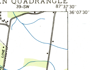 Reduced fragment of topographic map en--usgs--024k--028359--(1936)--N036-07-30_W087-45-00--N036-00-00_W087-37-30; towns and cities Mcewen