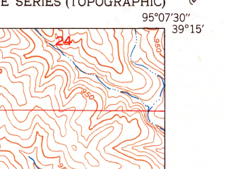 Reduced fragment of topographic map en--usgs--024k--028496--(1951)--N039-15-00_W095-15-00--N039-07-30_W095-07-30; towns and cities Mclouth