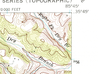 Reduced fragment of topographic map en--usgs--024k--028505--(1953)--N035-45-00_W085-52-30--N035-37-30_W085-45-00; towns and cities Mcminnville