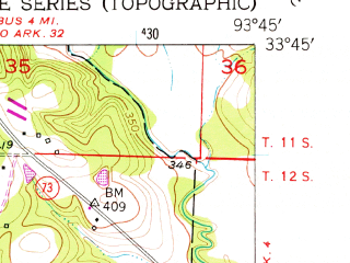 Reduced fragment of topographic map en--usgs--024k--028507--(1951)--N033-45-00_W093-52-30--N033-37-30_W093-45-00; towns and cities Mcnab