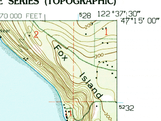 Reduced fragment of topographic map en--usgs--024k--028516--(1959)--N047-15-00_W122-45-00--N047-07-30_W122-37-30