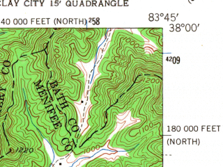 Reduced fragment of topographic map en--usgs--024k--028605--(1952)--N038-00-00_W083-52-30--N037-52-30_W083-45-00; towns and cities Jeffersonville