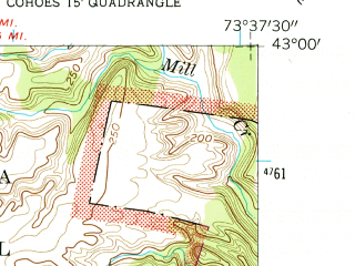 Reduced fragment of topographic map en--usgs--024k--028622--(1954)--N043-00-00_W073-45-00--N042-52-30_W073-37-30; towns and cities Mechanicville, Stillwater