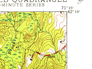 Reduced fragment of topographic map en--usgs--024k--028637--(1945)--N042-15-00_W071-22-30--N042-07-30_W071-15-00; towns and cities Medfield, Dover, Millis-clicquot