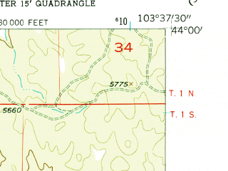 Reduced fragment of topographic map en--usgs--024k--028665--(1956)--N044-00-00_W103-45-00--N043-52-30_W103-37-30