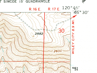 Reduced fragment of topographic map en--usgs--024k--028670--(1958)--N046-30-00_W120-52-30--N046-22-30_W120-45-00