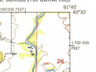 Reduced fragment of topographic map en--usgs--024k--028672--(1951)--N040-30-00_W091-52-30--N040-22-30_W091-45-00
