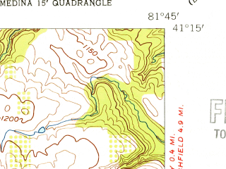 Reduced fragment of topographic map en--usgs--024k--028675--(1953)--N041-15-00_W081-52-30--N041-07-30_W081-45-00; towns and cities Brunswick, Medina