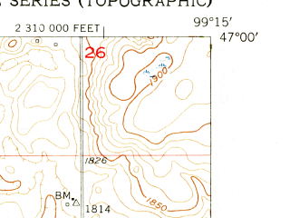 Reduced fragment of topographic map en--usgs--024k--028676--(1954)--N047-00-00_W099-22-30--N046-52-30_W099-15-00; towns and cities Medina