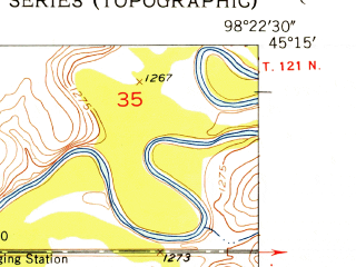 Reduced fragment of topographic map en--usgs--024k--028723--(1954)--N045-15-00_W098-30-00--N045-07-30_W098-22-30; towns and cities Mellette