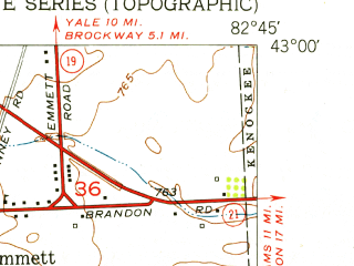 Reduced fragment of topographic map en--usgs--024k--028761--(1952)--N043-00-00_W082-52-30--N042-52-30_W082-45-00; towns and cities Emmett, Memphis