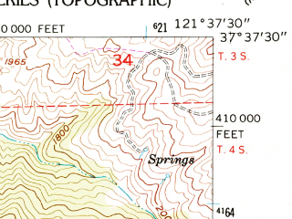 Reduced fragment of topographic map en--usgs--024k--028771--(1956)--N037-37-30_W121-45-00--N037-30-00_W121-37-30 in area of Lake Del Valle