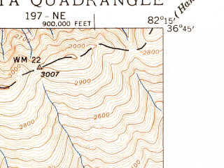Reduced fragment of topographic map en--usgs--024k--028780--(1939)--N036-45-00_W082-22-30--N036-37-30_W082-15-00