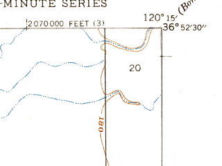 Reduced fragment of topographic map en--usgs--024k--028782--(1947)--N036-52-30_W120-22-30--N036-45-00_W120-15-00