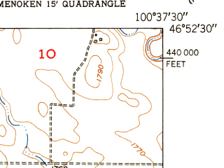 Reduced fragment of topographic map en--usgs--024k--028791--(1951)--N046-52-30_W100-45-00--N046-45-00_W100-37-30; towns and cities Lincoln