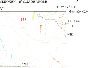 Reduced fragment of topographic map en--usgs--024k--028791--(1962)--N046-52-30_W100-45-00--N046-45-00_W100-37-30; towns and cities Lincoln