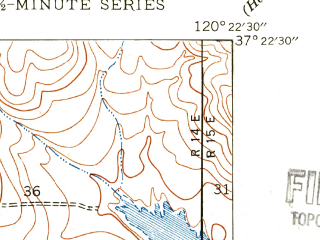 Reduced fragment of topographic map en--usgs--024k--028803--(1946)--N037-22-30_W120-30-00--N037-15-00_W120-22-30; towns and cities Merced
