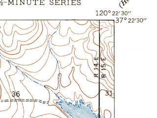 Reduced fragment of topographic map en--usgs--024k--028803--(1948)--N037-22-30_W120-30-00--N037-15-00_W120-22-30; towns and cities Merced