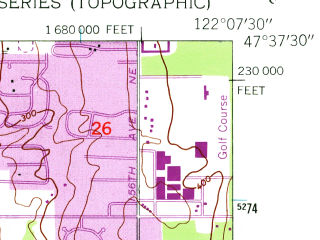Reduced fragment of topographic map en--usgs--024k--028813--(1950)--N047-37-30_W122-15-00--N047-30-00_W122-07-30; towns and cities Bellevue, Mercer Island, Newport Hills, Medina, Beaux Arts Village