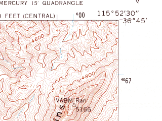 Reduced fragment of topographic map en--usgs--024k--028825--(1961)--N036-45-00_W116-00-00--N036-37-30_W115-52-30